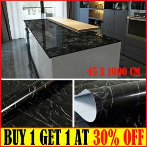 10mBlack Marble Wallpaper Vinyl Self Adhesive Worktop Cover Kitchen Cabinet Wrap
