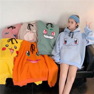 Pokemon Hoodie With Ears Women Girl Pikachu Squirtle Sweatshirt Top Anime Around