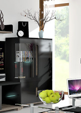 Lorenz High Gloss Black Low Display Cabinet Unit With LED Lights LOUNGE FURNITUR