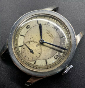 1940s SS Movado Chronometer Coin Edge Sector Dial Cal. 75