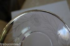 Vtg Sterling Silver Overlay Edge Etched Sunflower Purple/Lavender Glass Plate