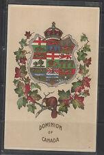 POST CARD Canada Patriotic DOMINION OF CANADA crest 9 provinces 1910 embossed