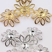 Gold Silver Plated Filigree Hollow Flower Spacer Metal Bead Cap Finding Craft