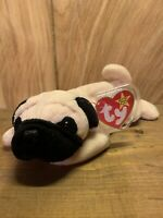 🐶🐶Pugsly Pug Beanie Baby 1996 Mint Condition Tag Errors🐶🐶