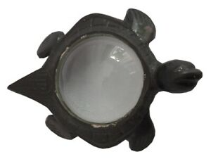Vintage Tortoise Shape Magnifying Glass Table Top Decor Made Metal Reproduction