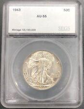 1943 P 90% Silver AU Walking Liberty Half Dollar Graded and Sealed in Slab