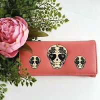 Sugar Skull Studded Wallet Pink Coral Clutch Goth Halloween Skeleton Gift