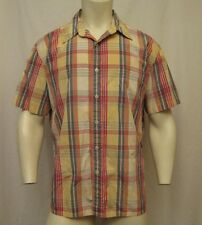J CREW SINGLE POCKET SHORT SLEEVE BUTTON UP PLAID SHIRT SZ XL FREE SHIPPING!