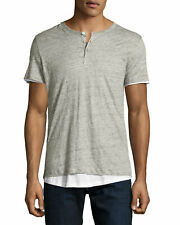 MAJESTIC PARIS GRAY WHITE DOUBLE-LAYER SHORT SLEEVE HENLEY XXL Slim L BNWT $265