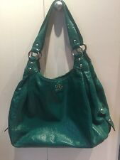 Pre owned Coach Madison Maggie Hobo Patent Leather Shoulder Bag #14331 Teal READ