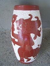 Nice Precolumbian Vase with Maya Aztec Warriors - Mexico