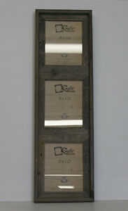 """8x10-2.5"""" Wide Reclaimed Rustic Barn Wood Vertical Collage Frame. Holds 3 Photos"""
