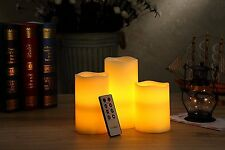 REAL WAX! Flameless Ivory Candles, Set of 3, Remote Control, Timer, 2 LED Modes