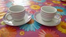Coppia tazzine caffè righe rosa lilla bianco + 2 piattini
