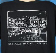 vintage 80s PIKE PLACE MARKET SEATTLE WASHINGTON PAPER THIN T-Shirt L/XL cartoon