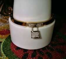 Michael Kors Hinged Tortoise Shell & Rhinestones Pad-Lock Charm Bracelet!!