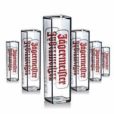 6 x Jägermeister Glas Gläser Shotglas Schnapsglas Acryl Design Gastro Bar NEU