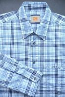 HUGO BOSS ORANGE MEN'S LONG SLEEVE BLUE PLAIDS COTTON CASUAL SHIRT New L