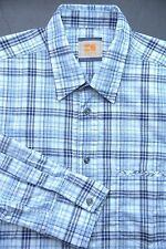 HUGO BOSS ORANGE MEN'S LONG SLEEVE BLUE PLAIDS COTTON CASUAL SHIRT M