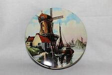 "Vintage Lithographed Holland Windmill House & Boat Metal Tin   9"" diameter    TS"