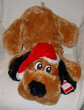 HOLIDAY TIME FLOPPY PUPPY ** WEARING RED SANTA HAT * SO CUTE * 26 INCHES * NEW *