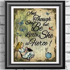 Original ART Print DICTIONARY ANTIQUE BOOK PAGE Alice in Wonderland FIERCE Decor