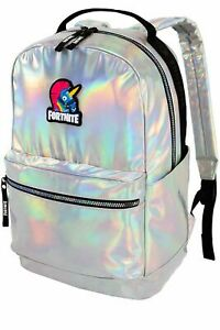 """FORTNITE STAMPED IRRIDESCENT/SILVER 18"""" BACKPACK BRAND NEW WITH TAGS FN1004-993"""