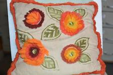Vintage Shabby Retro Orange Flower Floral Crewel Yarn Throw Toss PILLOW