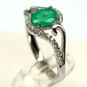 NATURAL 5 X 7 mm. GREEN EMERALD & WHITE CZ 925 STERLING SILVER RING SZ 7