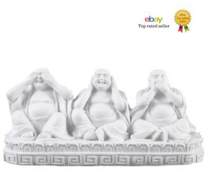 Three Wise Buddhas White See Hear Speak No Evil 13cm Home Decor Ornament Buddha