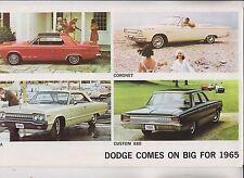 ORIGINAL 1965 SALES BROCHURE - DODGE COMES ON BIG FOR '65 - DART CORONET POLARA