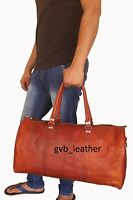 """24"""" Large Cow Leather Goat hide Duffel Weekend Luggage Travel Overnight Bag"""