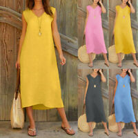 Women Summer Sleeveless V Neck Solid Cotton Linen Casual Long Maxi Beach Dress