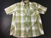 Orvis Mens Green Plaid Front Pocket Button Front Shirt Size Large