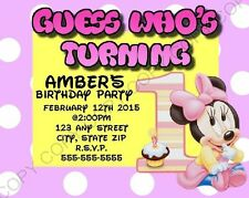 Minnie Mouse 1st First Birthday Invitations 8 pk Personalized chg Ok