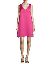 ZAC Zac Posen Sleeveless Lace Trim Satin Swing Mini Dress Geranium Pink XS 0