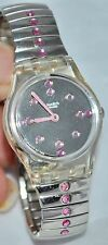 Swatch 1999 Gouttes De Sirop Pink Rhinestone Mirrored Dial Expansion Band LK171