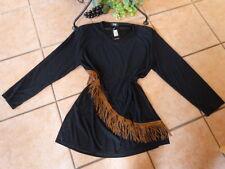 NURI Tunika Shirt 42 44 NEU! schwarz brauner Fransenbesatz