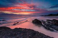 Australian pelican sunset sunrise  art landscape print modern photo poster 800mm