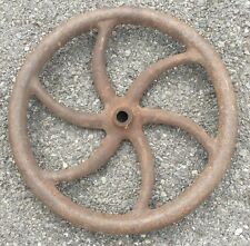 "OLD VTG ANTIQUE TURN SPOKE CAST IRON INDUSTRIAL CORN SHELLER 18"" METAL WHEEL"