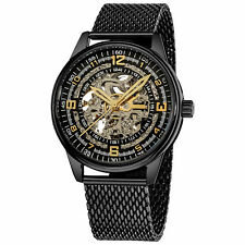 Men's Akribos XXIV AK446BK 'Saturnos Elite' Skeleton Automatic SS Black Watch