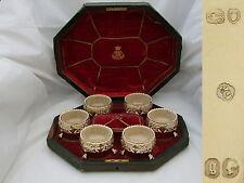 RARE VICTORIAN SET of 6 HM STERLING SILVERGILT TABLE SALTS 1862