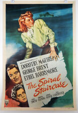 THE SPIRAL STAIRCASE - 1 SHEET LINEN POSTER - DOROTHY McGUIRE - GEORGE BRENT
