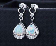 Beautiful 925 Sterling Silver Filled White Fire Opal Teardrop Stud Earrings
