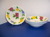 "Tabletops Unlimited Rose Fantasy 4 Soup Cereal Bowls (8.25"") Pink Blue Yellow"
