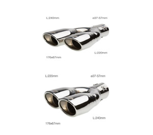 Simoni Racing Pair Silencers Double Stainless Steel Oval And Inclined