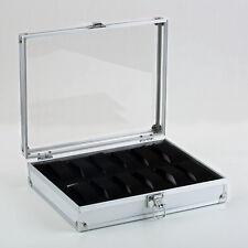 L12 Slot Leather Watch Box Display Case Organizer Glass Top Jewelry Storage