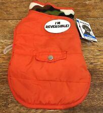 Simply Dog Reversible Coat Orange Camo Fleece XS XSmall
