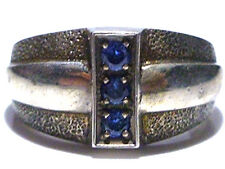 MENS DESIGNER VINTAGE MODERN MODERNIST BLUE SAPPHIRE STERLING SILVER RING BAND