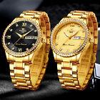 FNGEEN Waterproof Gold Men Quartz Watch Classic Stainless Steel Diamond Business